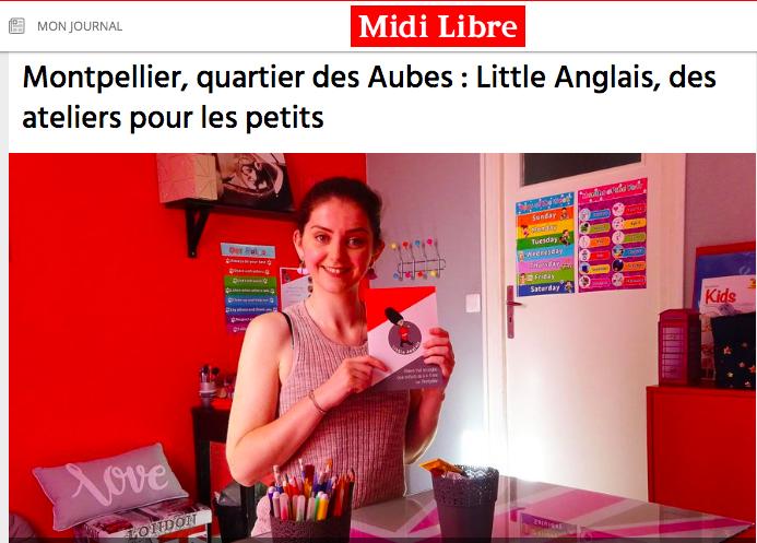 Midi Libre parle de Little Anglais Montpellier