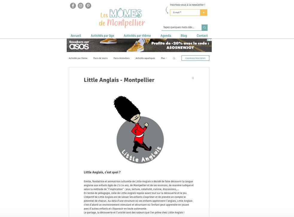 Article Little Anglais Montpellier by Les Mômes de Montpellier